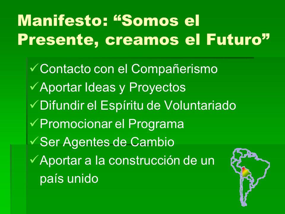 Manifesto: Somos el Presente, creamos el Futuro Contacto con el Compañerismo Aportar Ideas y Proyectos Difundir el Espíritu de Voluntariado Promocionar el Programa Ser Agentes de Cambio Aportar a la construcción de un país unido