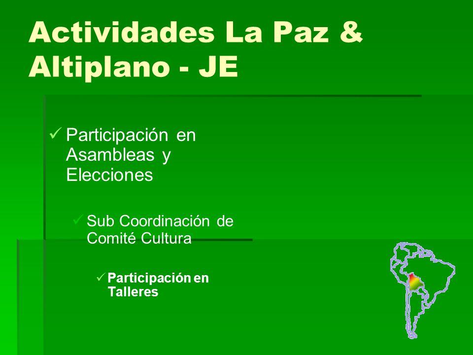 Actividades La Paz & Altiplano - JE Participación en Asambleas y Elecciones Sub Coordinación de Comité Cultura Participación en Talleres
