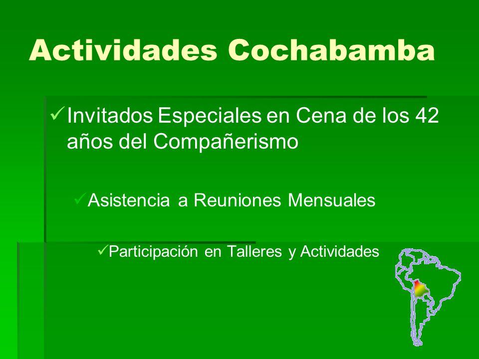 Actividades Cochabamba Invitados Especiales en Cena de los 42 años del Compañerismo Asistencia a Reuniones Mensuales Participación en Talleres y Actividades