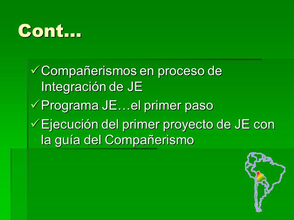 Cont… Compañerismos en proceso de Integración de JE Compañerismos en proceso de Integración de JE Programa JE…el primer paso Programa JE…el primer paso Ejecución del primer proyecto de JE con la guía del Compañerismo Ejecución del primer proyecto de JE con la guía del Compañerismo
