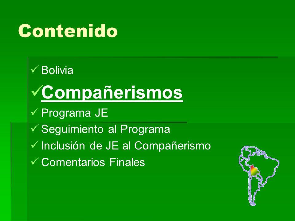 Contenido Bolivia Compañerismos Programa JE Seguimiento al Programa Inclusión de JE al Compañerismo Comentarios Finales
