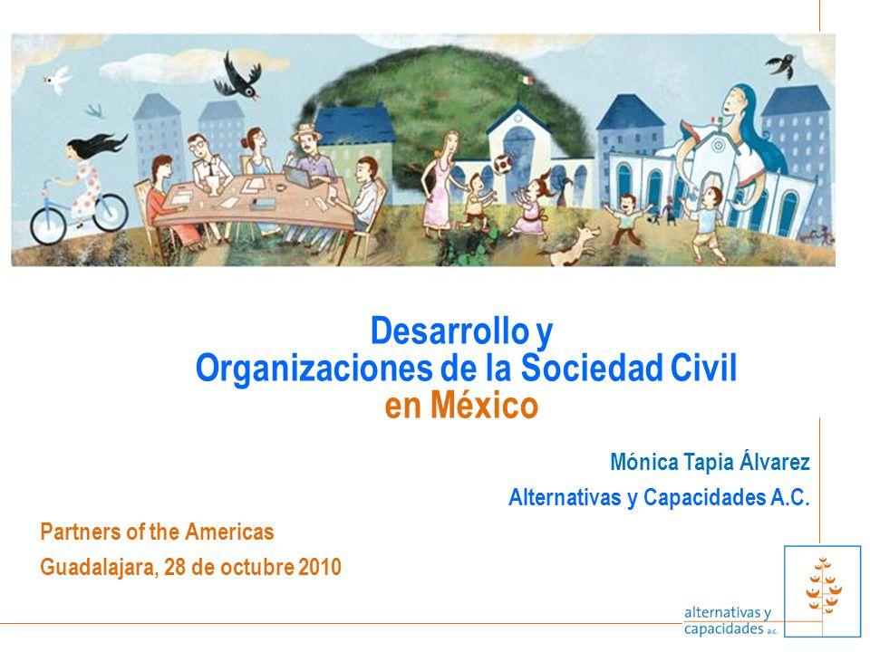 Mónica Tapia Álvarez Alternativas y Capacidades A.C. Partners of the Americas Guadalajara, 28 de octubre 2010 Desarrollo y Organizaciones de la Socied