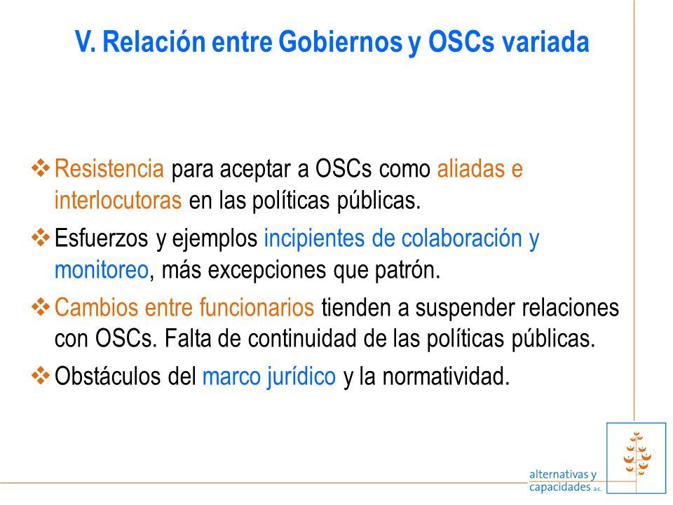 Resistencia para aceptar a OSCs como aliadas e interlocutoras en las políticas públicas.