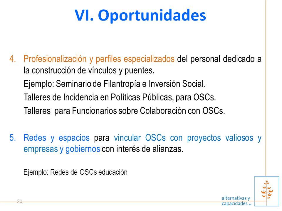 4.Profesionalización y perfiles especializados del personal dedicado a la construcción de vínculos y puentes. Ejemplo: Seminario de Filantropía e Inve