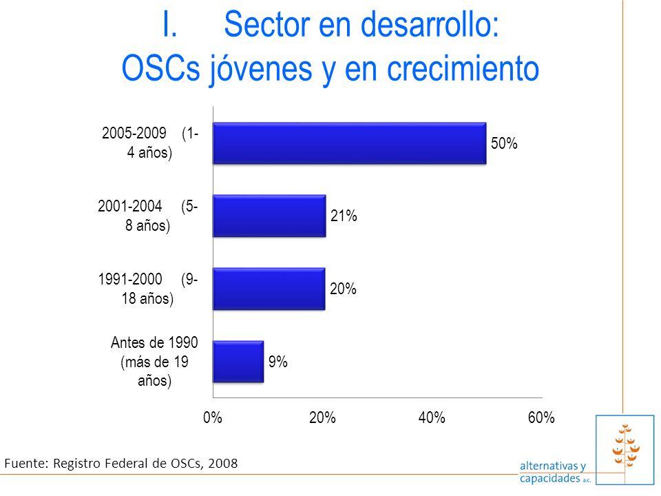 I.Sector en desarrollo: OSCs jóvenes y en crecimiento Fuente: Registro Federal de OSCs, 2008