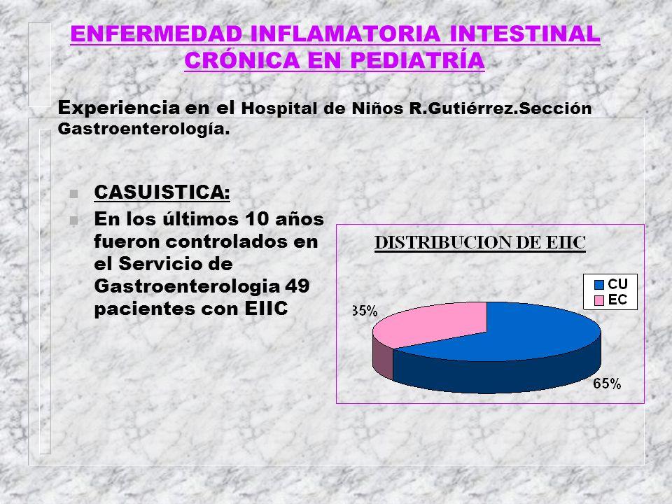 ENFERMEDAD INFLAMATORIA INTESTINAL CRÓNICA EN PEDIATRÍA Experiencia en el Hospital de Niños R.Gutiérrez.Sección Gastroenterología. n CASUISTICA: n En