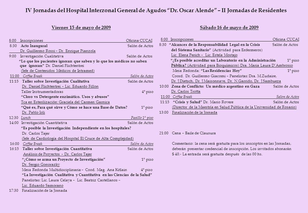 IV Jornadas del Hospital Interzonal General de Agudos Dr. Oscar Alende – II Jornadas de Residentes Viernes 15 de mayo de 2009 8:00 Inscripciones Ofici