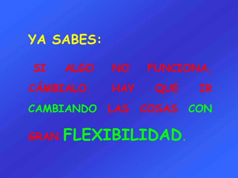 YA SABES: SI ALGO NO FUNCIONA, CÁMBIALO. HAY QUE IR CAMBIANDO LAS COSAS CON GRAN FLEXIBILIDAD.