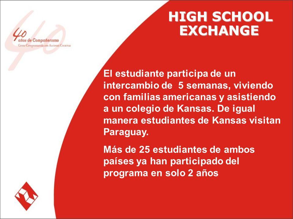 HIGH SCHOOL EXCHANGE El estudiante participa de un intercambio de 5 semanas, viviendo con familias americanas y asistiendo a un colegio de Kansas.
