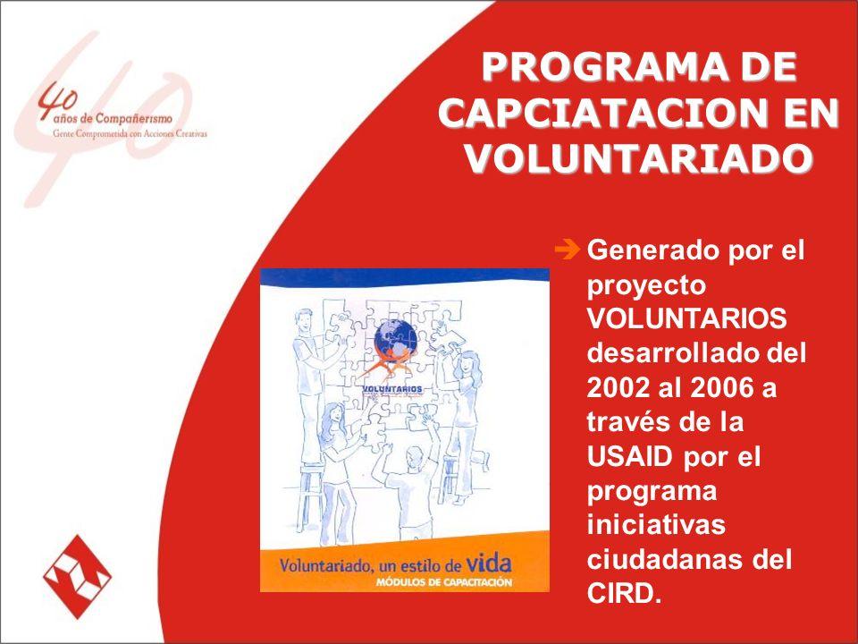 PROGRAMA DE CAPCIATACION EN VOLUNTARIADO Generado por el proyecto VOLUNTARIOS desarrollado del 2002 al 2006 a través de la USAID por el programa iniciativas ciudadanas del CIRD.