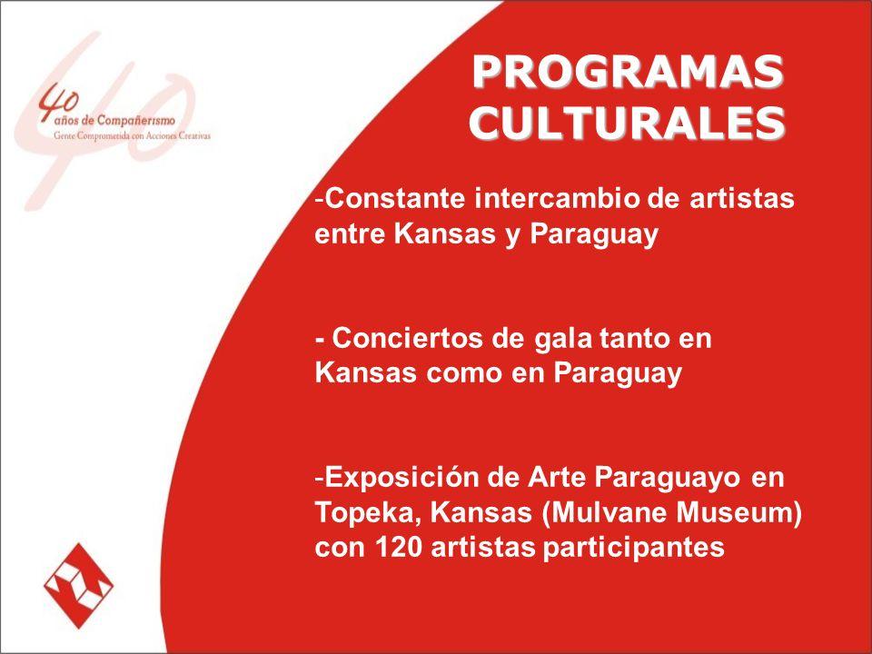 PROGRAMAS CULTURALES -Constante intercambio de artistas entre Kansas y Paraguay - Conciertos de gala tanto en Kansas como en Paraguay -Exposición de Arte Paraguayo en Topeka, Kansas (Mulvane Museum) con 120 artistas participantes