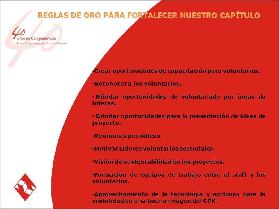 REGLAS DE ORO PARA FORTALECER NUESTRO CAPÍTULO Crear oportunidades de capacitación para voluntarios.