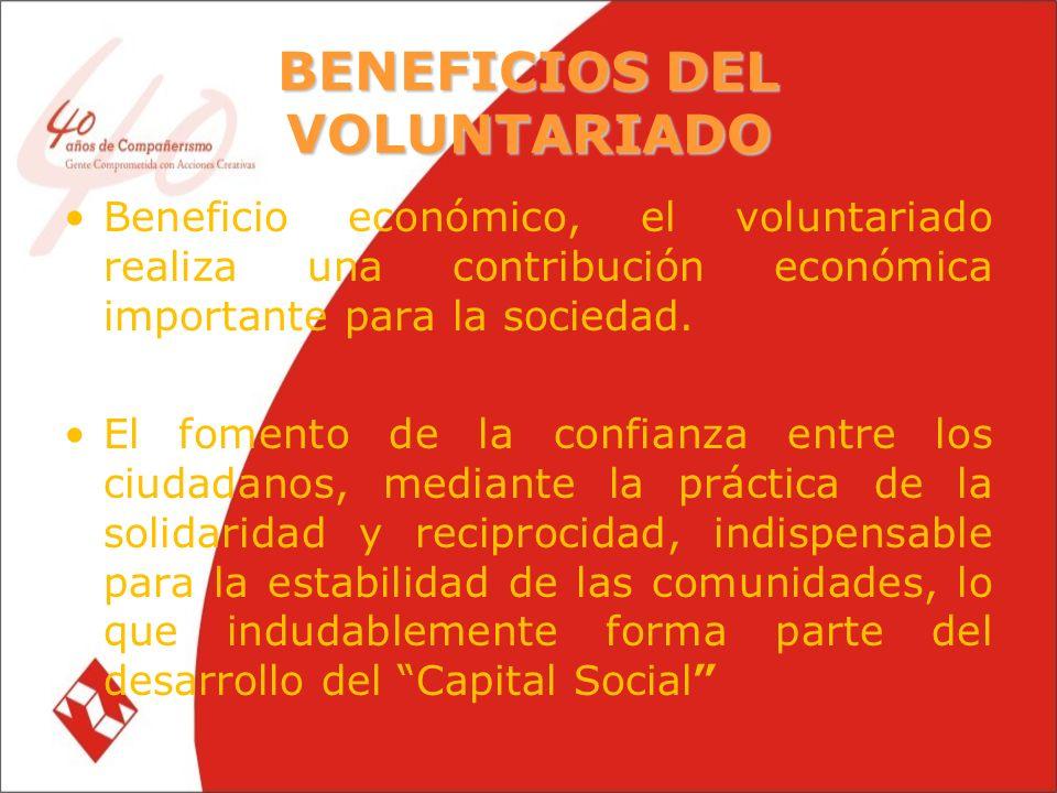 BENEFICIOS DEL VOLUNTARIADO Beneficio económico, el voluntariado realiza una contribución económica importante para la sociedad.