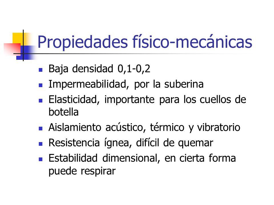 Propiedades físico-mecánicas Baja densidad 0,1-0,2 Impermeabilidad, por la suberina Elasticidad, importante para los cuellos de botella Aislamiento ac