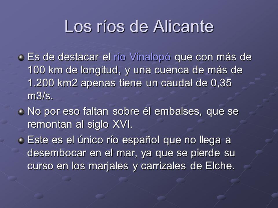 Los ríos de Alicante Es de destacar el río Vinalopó que con más de 100 km de longitud, y una cuenca de más de 1.200 km2 apenas tiene un caudal de 0,35