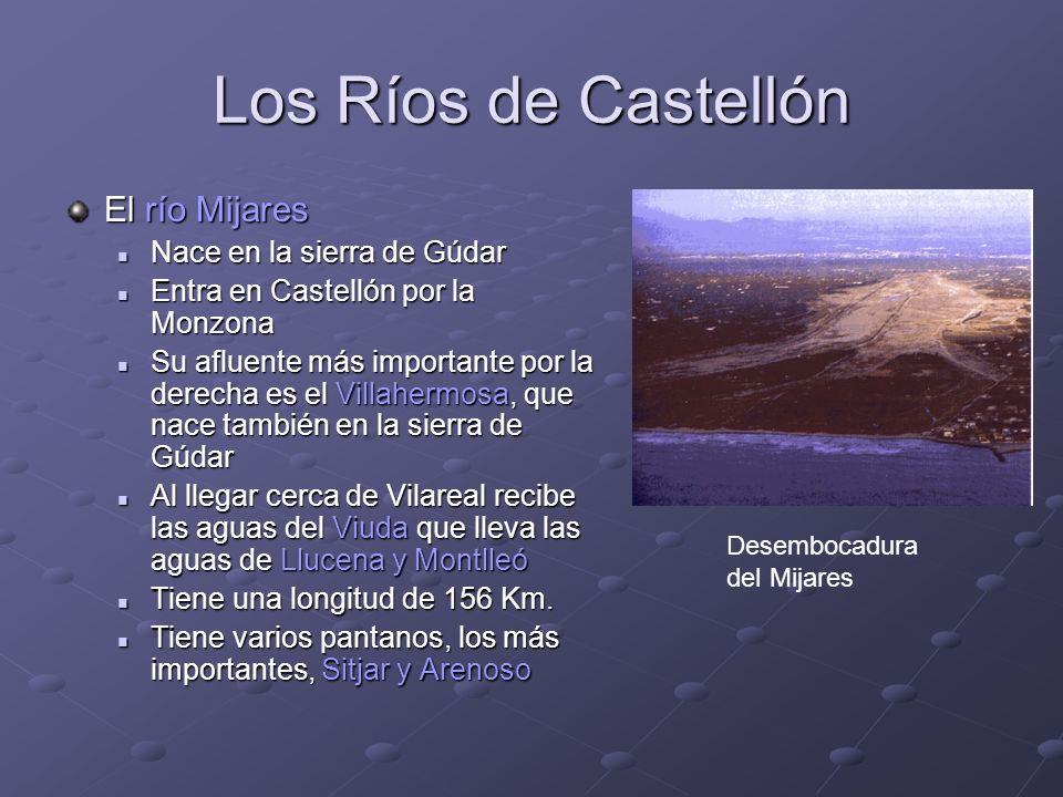 Los Ríos de Castellón El río Mijares Nace en la sierra de Gúdar Nace en la sierra de Gúdar Entra en Castellón por la Monzona Entra en Castellón por la