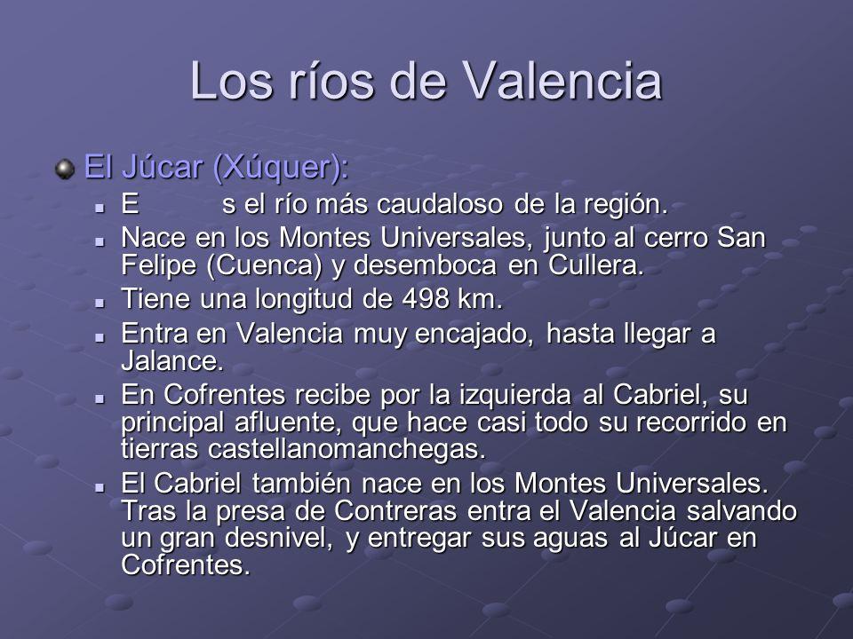 Los ríos de Valencia El Júcar (Xúquer): Es el río más caudaloso de la región. Es el río más caudaloso de la región. Nace en los Montes Universales, ju