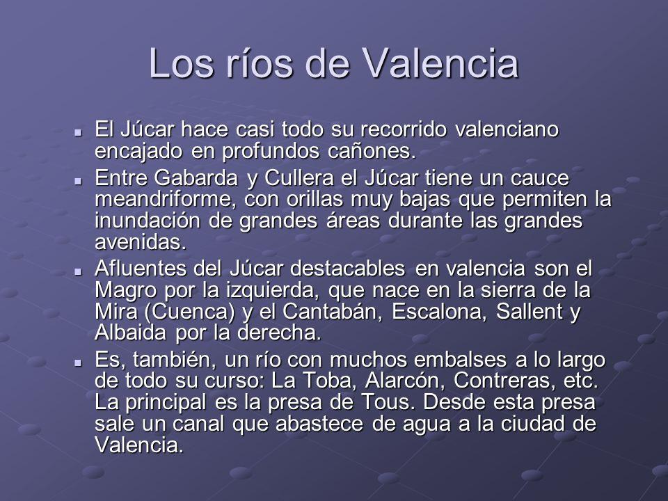 Los ríos de Valencia El Júcar hace casi todo su recorrido valenciano encajado en profundos cañones. El Júcar hace casi todo su recorrido valenciano en