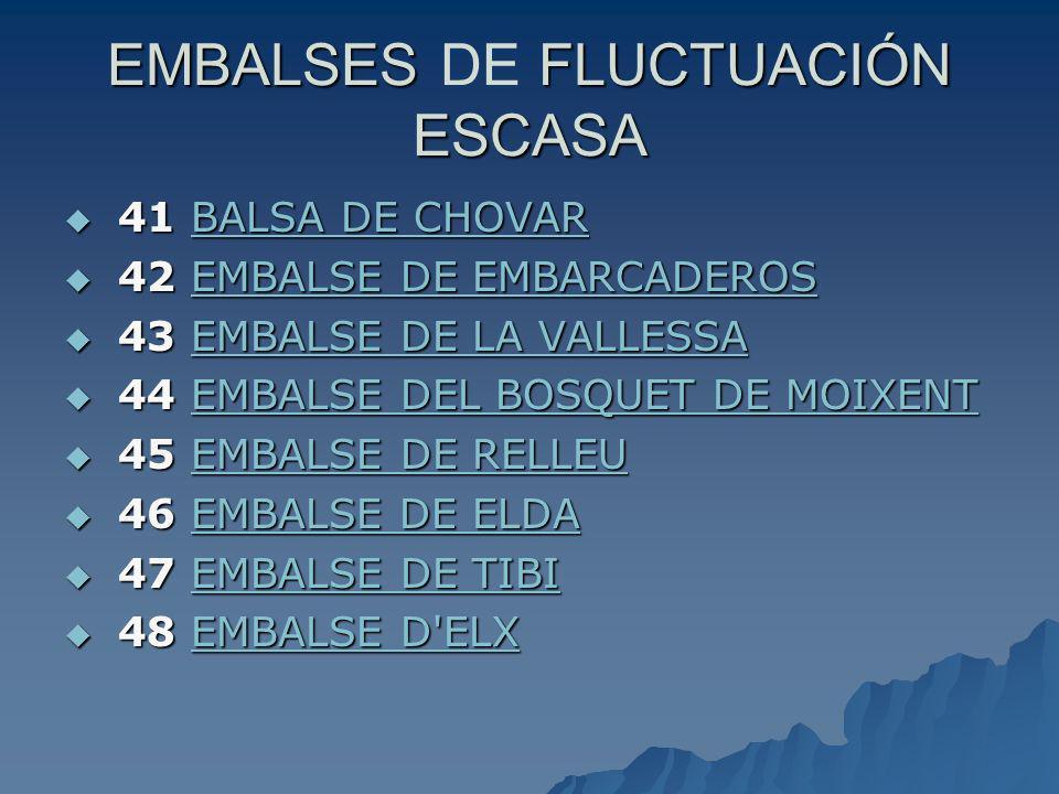 EMBALSES FLUCTUACIÓN ESCASA EMBALSES DE FLUCTUACIÓN ESCASA 41 BALSA DE CHOVAR 41 BALSA DE CHOVARBALSA DE CHOVARBALSA DE CHOVAR 42 EMBALSE DE EMBARCADE