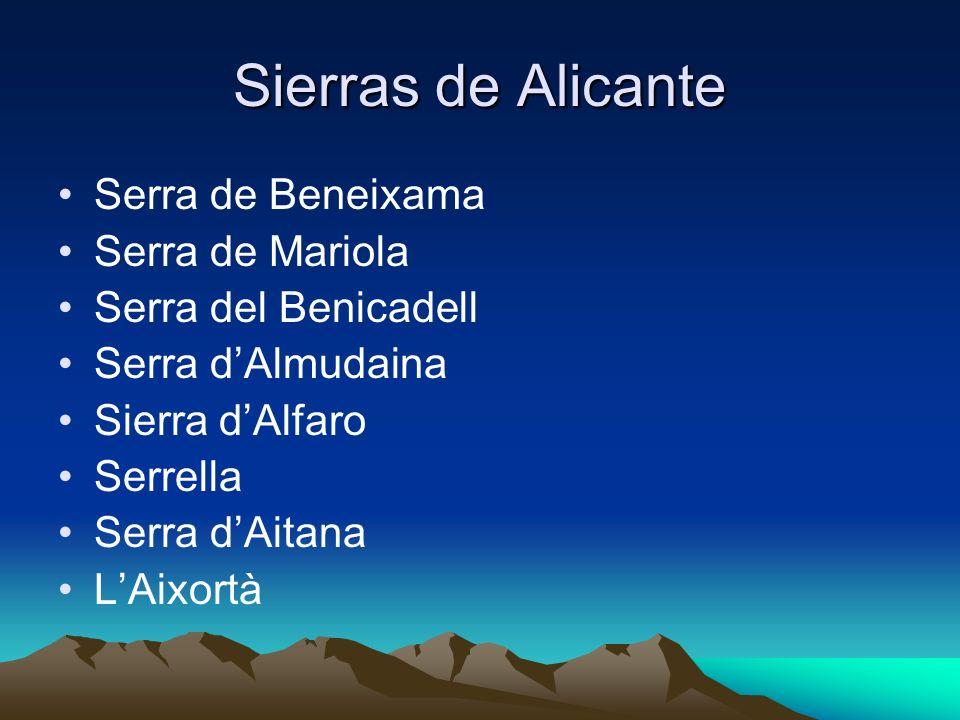 Sierras de Alicante Serra de Beneixama Serra de Mariola Serra del Benicadell Serra dAlmudaina Sierra dAlfaro Serrella Serra dAitana LAixortà
