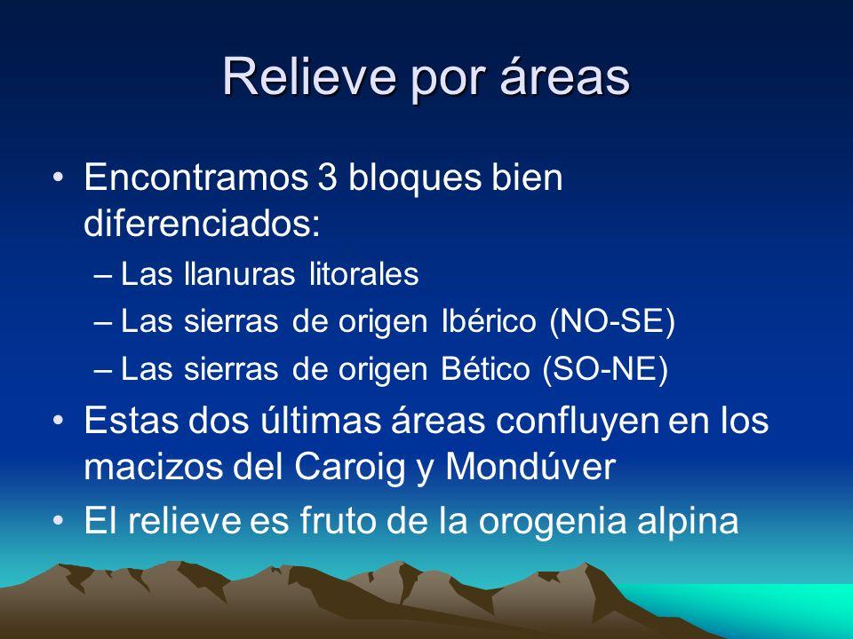Relieve por áreas Encontramos 3 bloques bien diferenciados: –Las llanuras litorales –Las sierras de origen Ibérico (NO-SE) –Las sierras de origen Béti