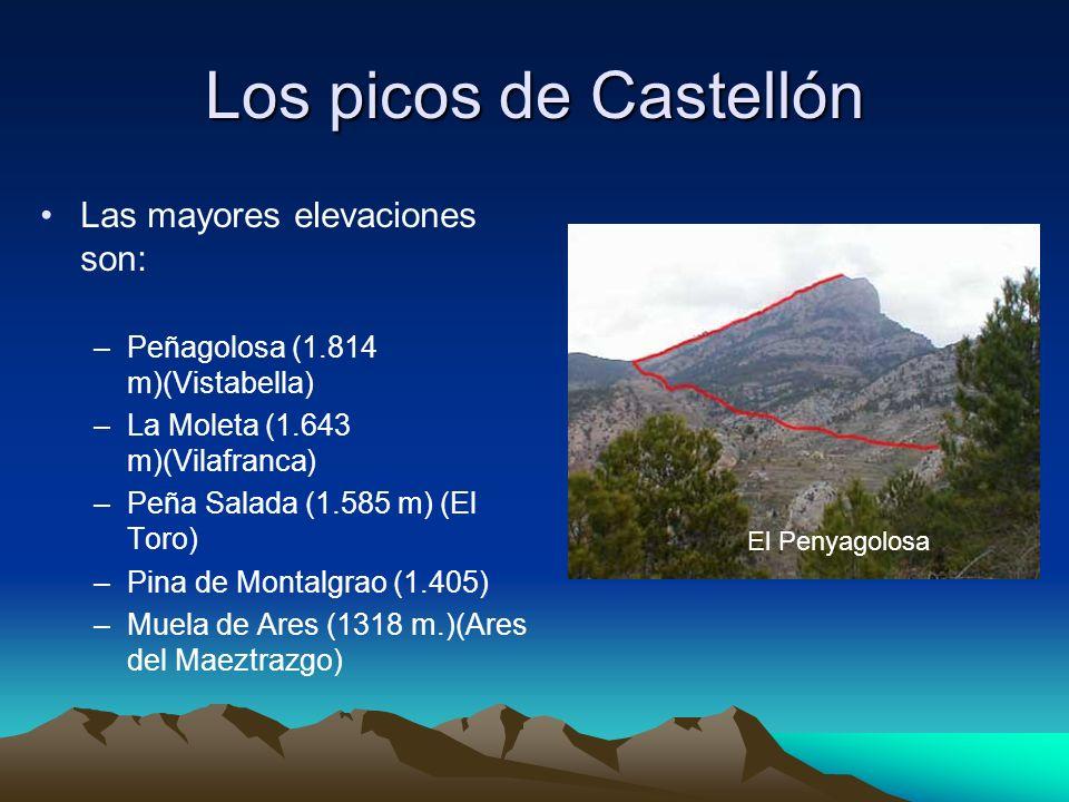 Los picos de Castellón Las mayores elevaciones son: –Peñagolosa (1.814 m)(Vistabella) –La Moleta (1.643 m)(Vilafranca) –Peña Salada (1.585 m) (El Toro
