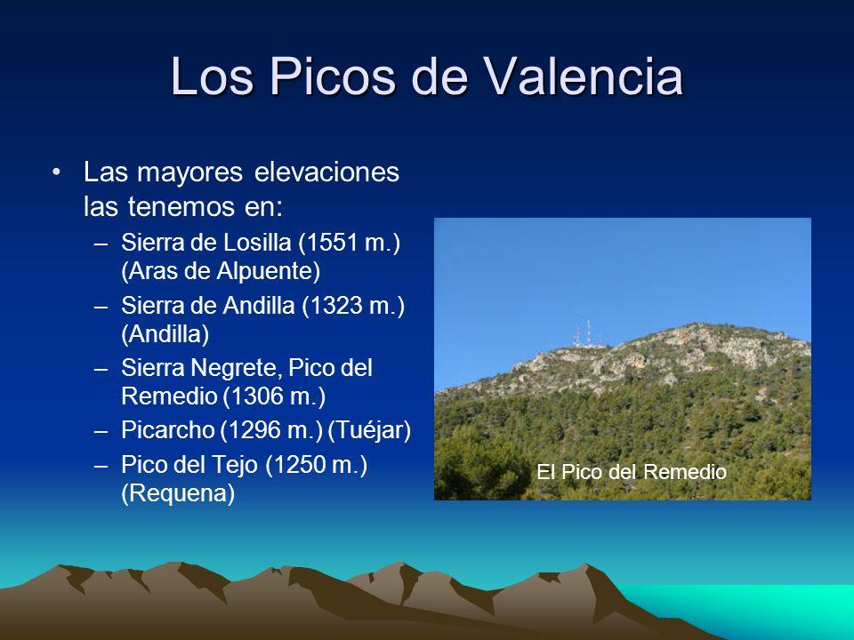 Los Picos de Valencia Las mayores elevaciones las tenemos en: –Sierra de Losilla (1551 m.) (Aras de Alpuente) –Sierra de Andilla (1323 m.) (Andilla) –