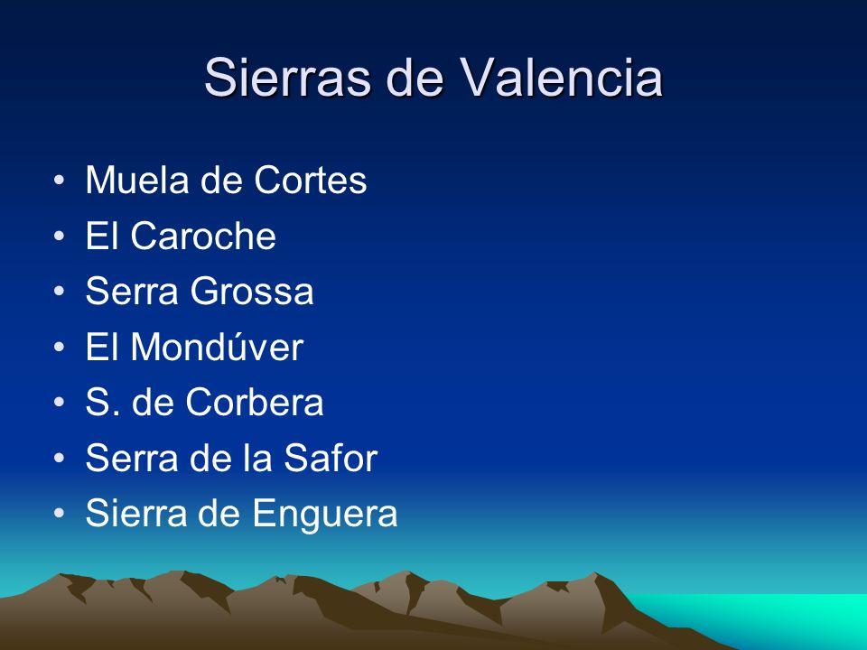 Sierras de Valencia Muela de Cortes El Caroche Serra Grossa El Mondúver S. de Corbera Serra de la Safor Sierra de Enguera