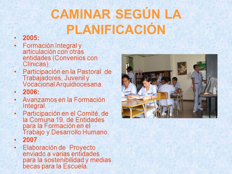 CAMINAR SEGÚN LA PLANIFICACIÓN 2005: Formación Integral y articulación con otras entidades (Convenios con Clínicas). Participación en la Pastoral de T