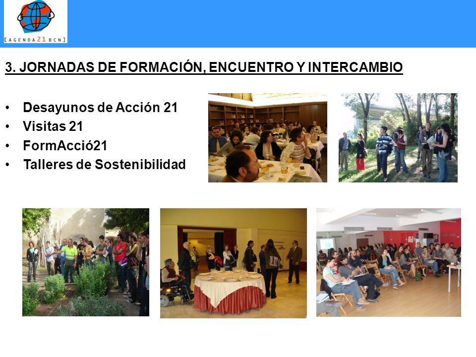 3. JORNADAS DE FORMACIÓN, ENCUENTRO Y INTERCAMBIO Desayunos de Acción 21 Visitas 21 FormAcció21 Talleres de Sostenibilidad