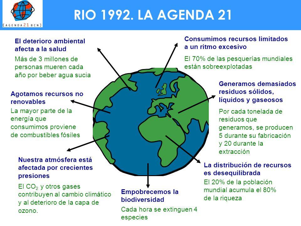 RIO 1992. LA AGENDA 21 El deterioro ambiental afecta a la salud Más de 3 millones de personas mueren cada año por beber agua sucia Nuestra atmósfera e