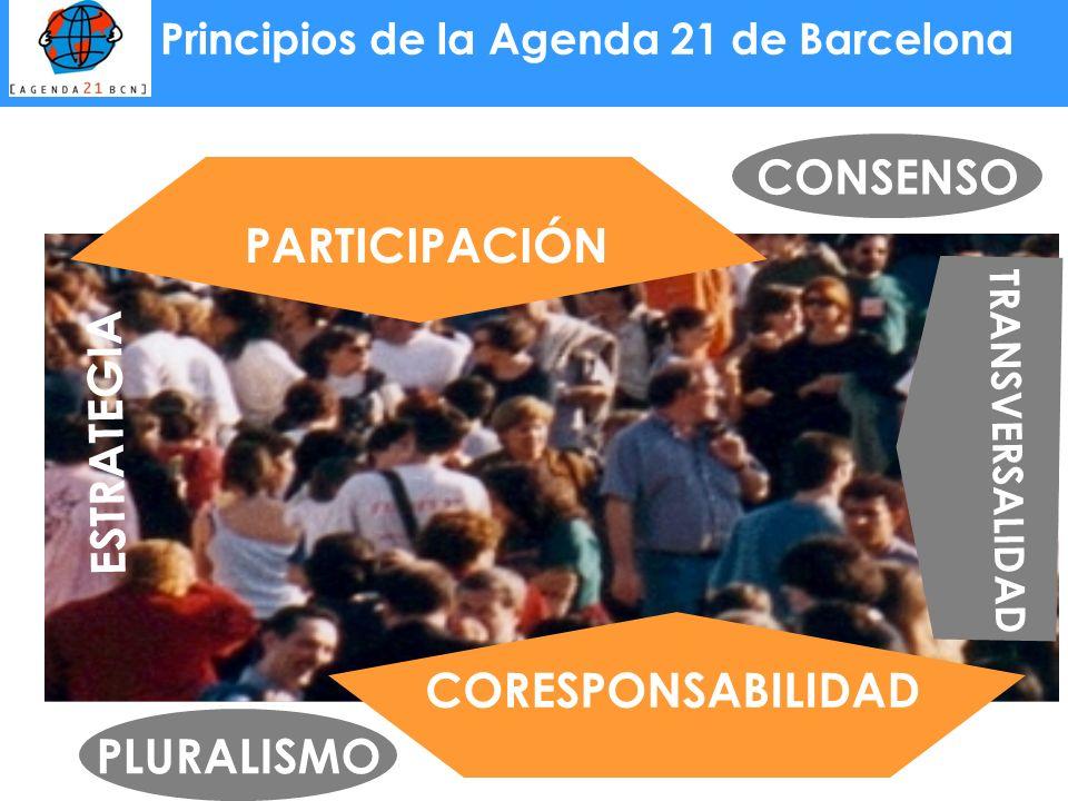Principios de la Agenda 21 de Barcelona PARTICIPACIÓN CORESPONSABILIDAD PLURALISMO CONSENSO ESTRATEGIA TRANSVERSALIDAD