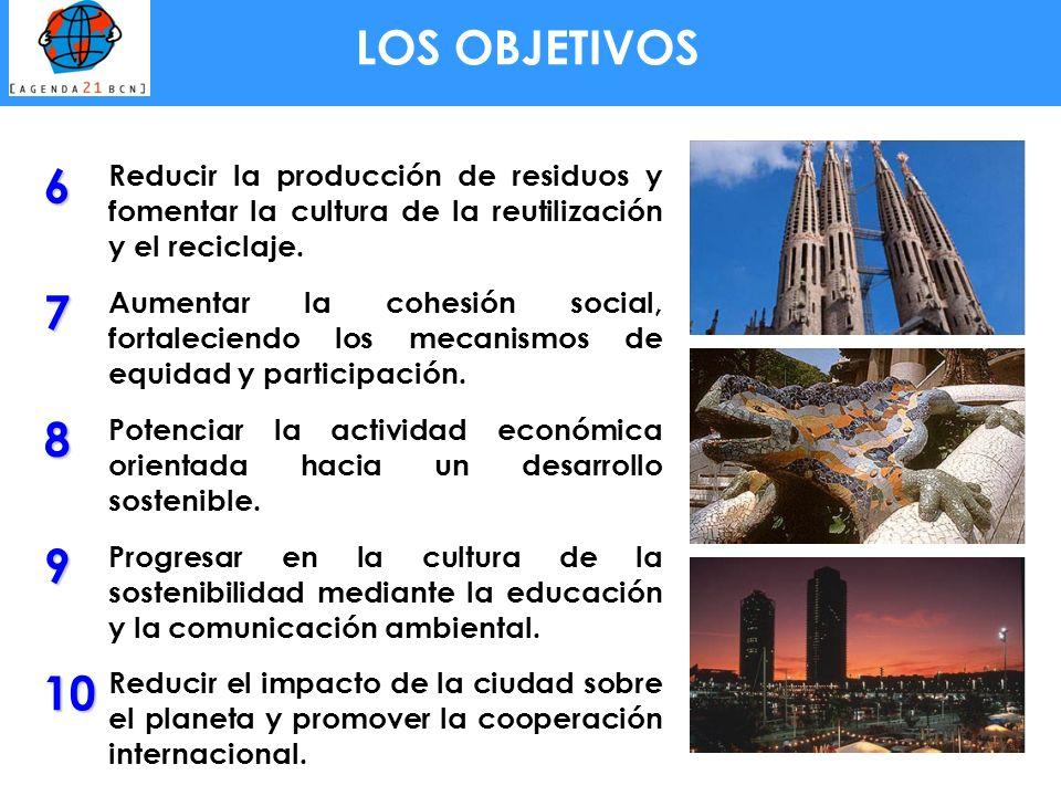 6 Reducir la producción de residuos y fomentar la cultura de la reutilización y el reciclaje. 7 Aumentar la cohesión social, fortaleciendo los mecanis