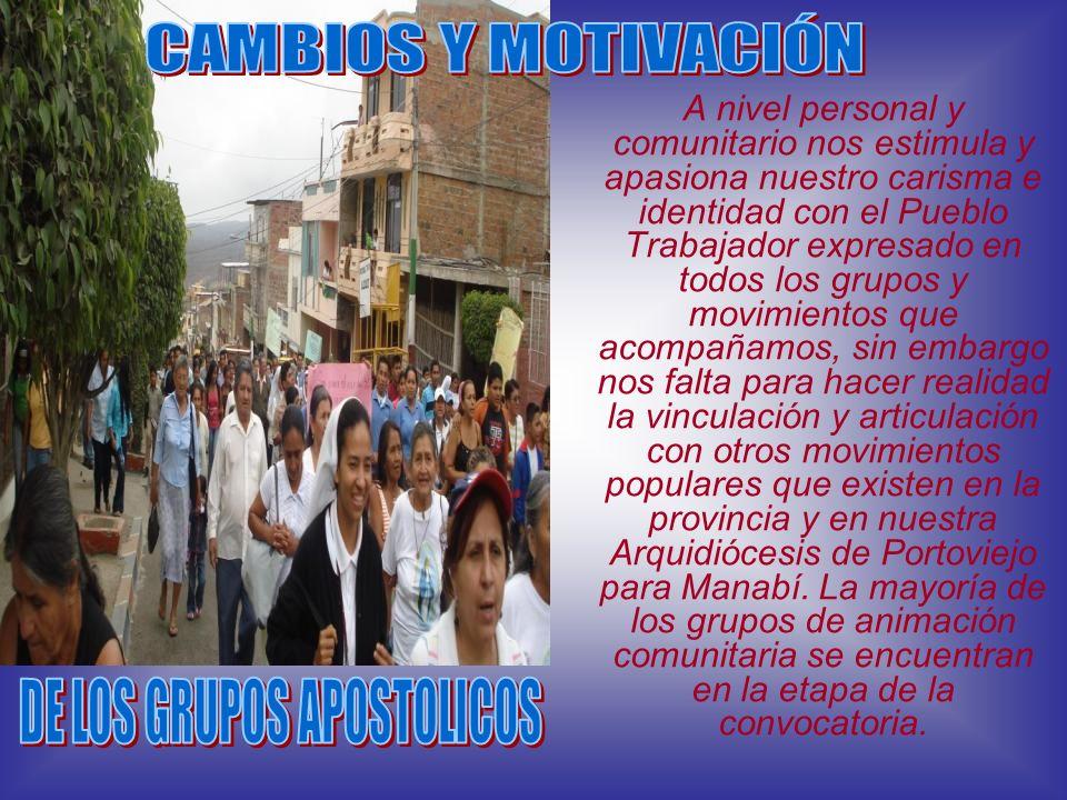A nivel personal y comunitario nos estimula y apasiona nuestro carisma e identidad con el Pueblo Trabajador expresado en todos los grupos y movimiento