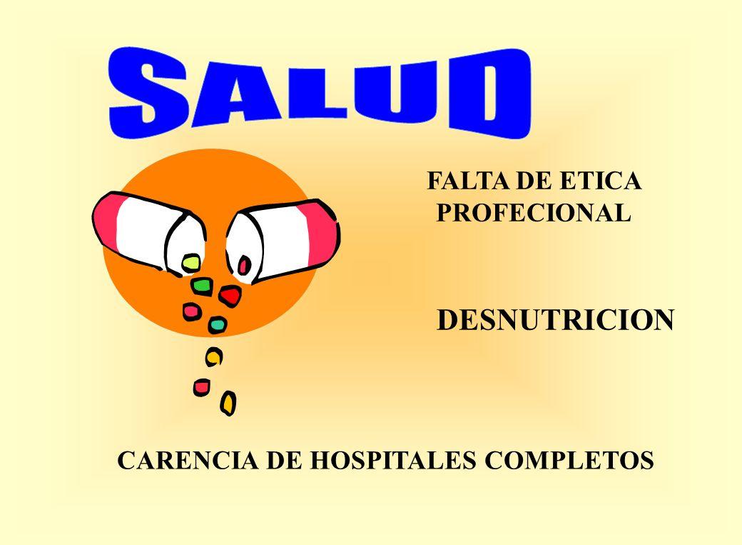 FALTA DE ETICA PROFECIONAL CARENCIA DE HOSPITALES COMPLETOS DESNUTRICION