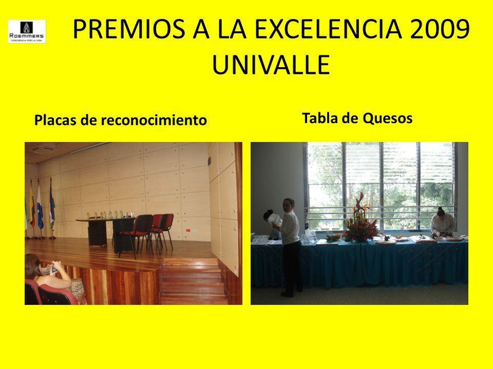 PREMIOS A LA EXCELENCIA 2009 UNIVALLE Placas de reconocimiento Tabla de Quesos