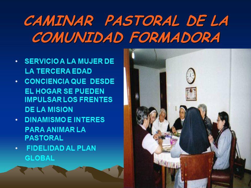 CAMINAR PASTORAL DE LA COMUNIDAD FORMADORA SERVICIO A LA MUJER DE LA TERCERA EDAD CONCIENCIA QUE DESDE EL HOGAR SE PUEDEN IMPULSAR LOS FRENTES DE LA MISION DINAMISMO E INTERES PARA ANIMAR LA PASTORAL FIDELIDAD AL PLAN GLOBAL
