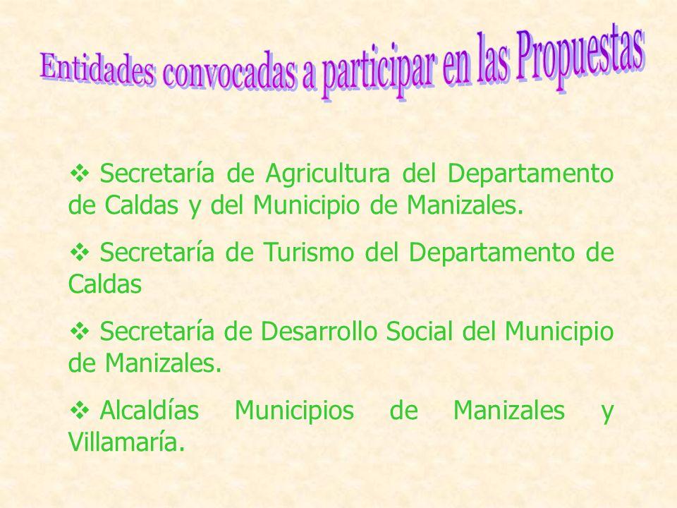 Secretaría de Agricultura del Departamento de Caldas y del Municipio de Manizales. Secretaría de Turismo del Departamento de Caldas Secretaría de Desa