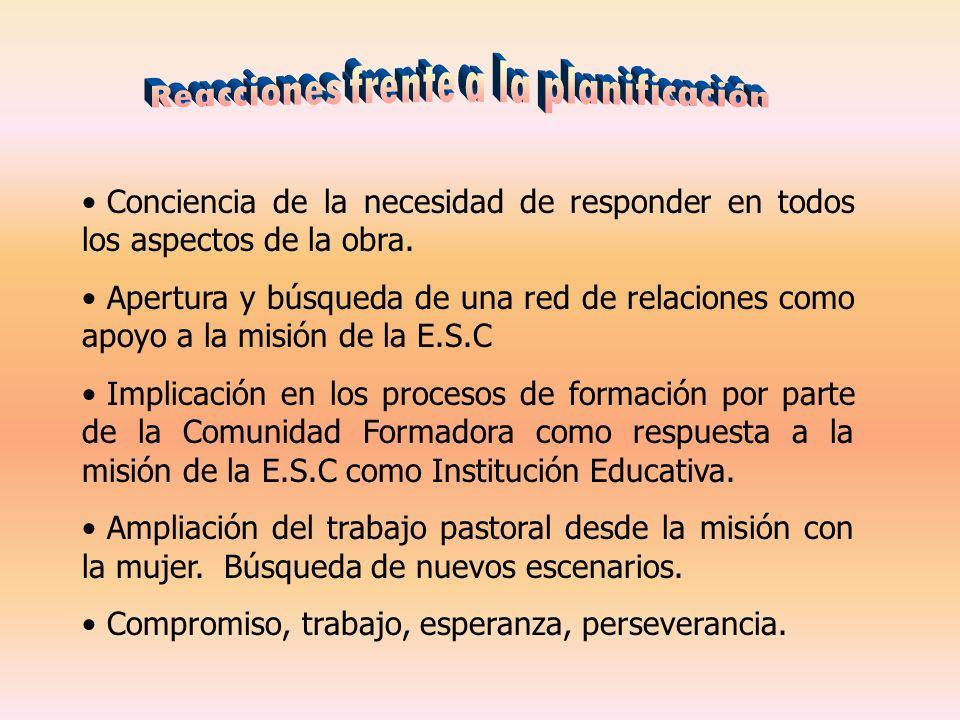 Conciencia de la necesidad de responder en todos los aspectos de la obra. Apertura y búsqueda de una red de relaciones como apoyo a la misión de la E.