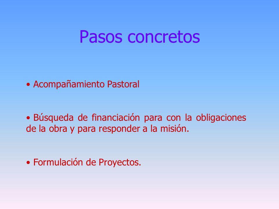 Pasos concretos Acompañamiento Pastoral Búsqueda de financiación para con la obligaciones de la obra y para responder a la misión. Formulación de Proy