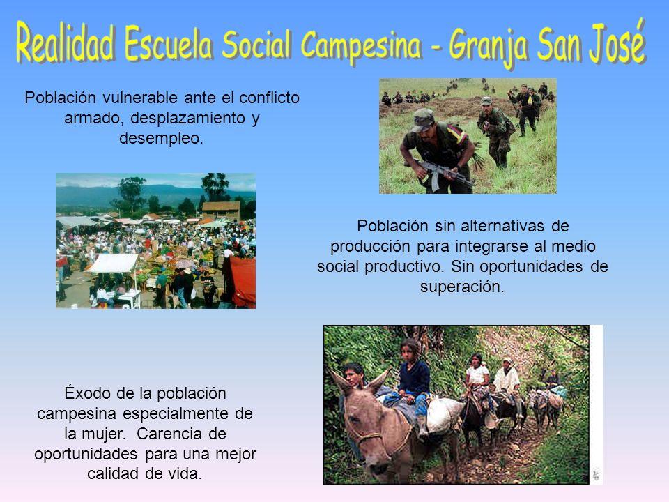 Población vulnerable ante el conflicto armado, desplazamiento y desempleo. Población sin alternativas de producción para integrarse al medio social pr