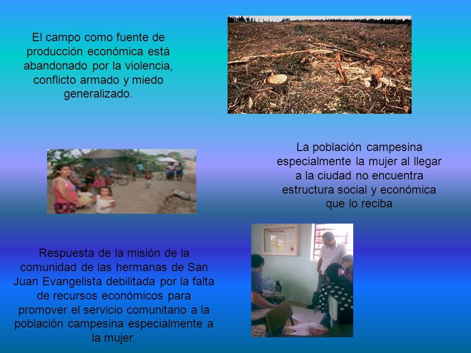 El campo como fuente de producción económica está abandonado por la violencia, conflicto armado y miedo generalizado. La población campesina especialm
