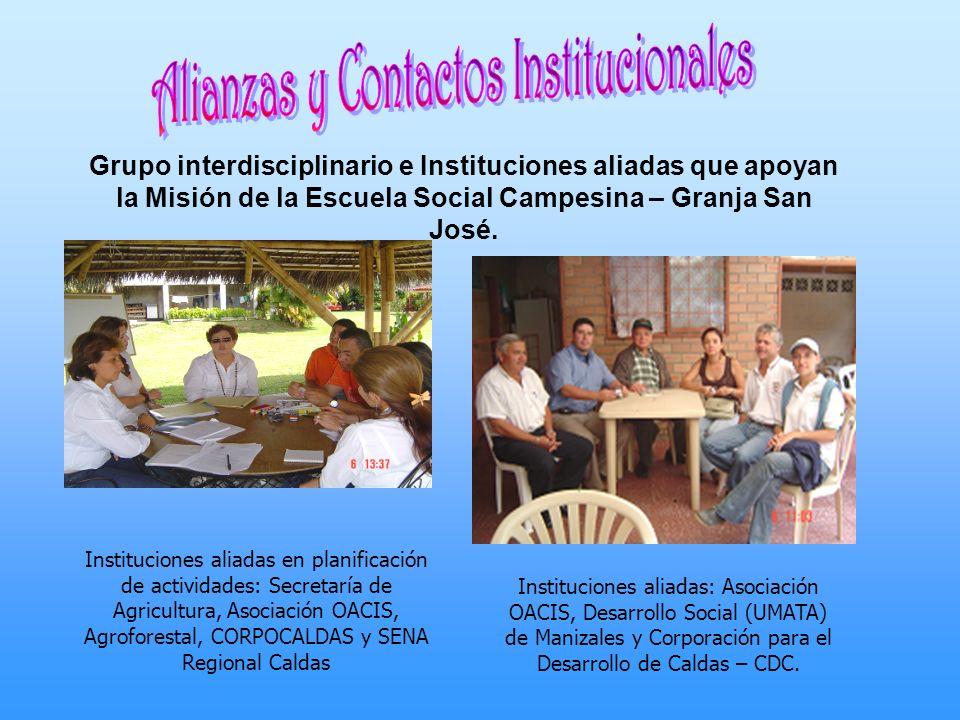 Grupo interdisciplinario e Instituciones aliadas que apoyan la Misión de la Escuela Social Campesina – Granja San José. Instituciones aliadas en plani