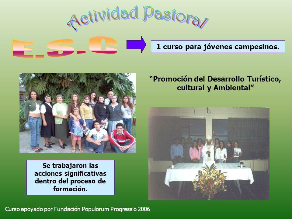1 curso para jóvenes campesinos. Curso apoyado por Fundación Populorum Progressio 2006 Promoción del Desarrollo Turístico, cultural y Ambiental Se tra