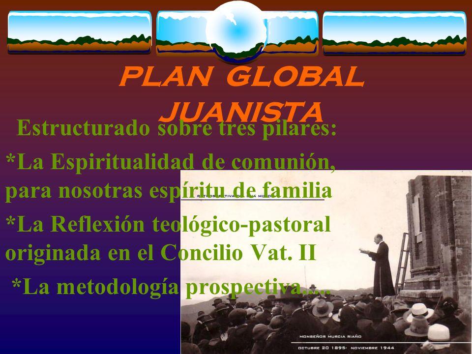 PLAN glob AL JUANISTA Estructurado sobre tres pilares: *La Espiritualidad de comunión, para nosotras espíritu de familia *La Reflexión teológico-pastoral originada en el Concilio Vat.