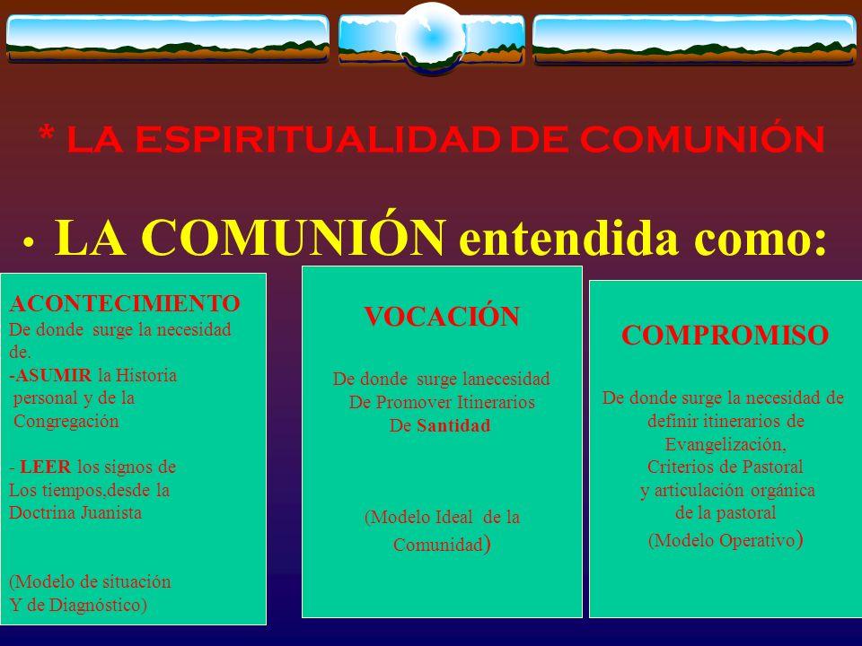 * LA ESPIRITUALIDAD DE COMUNIÓN LA COMUNIÓN entendida como: ACONTECIMIENTO De donde surge la necesidad de.