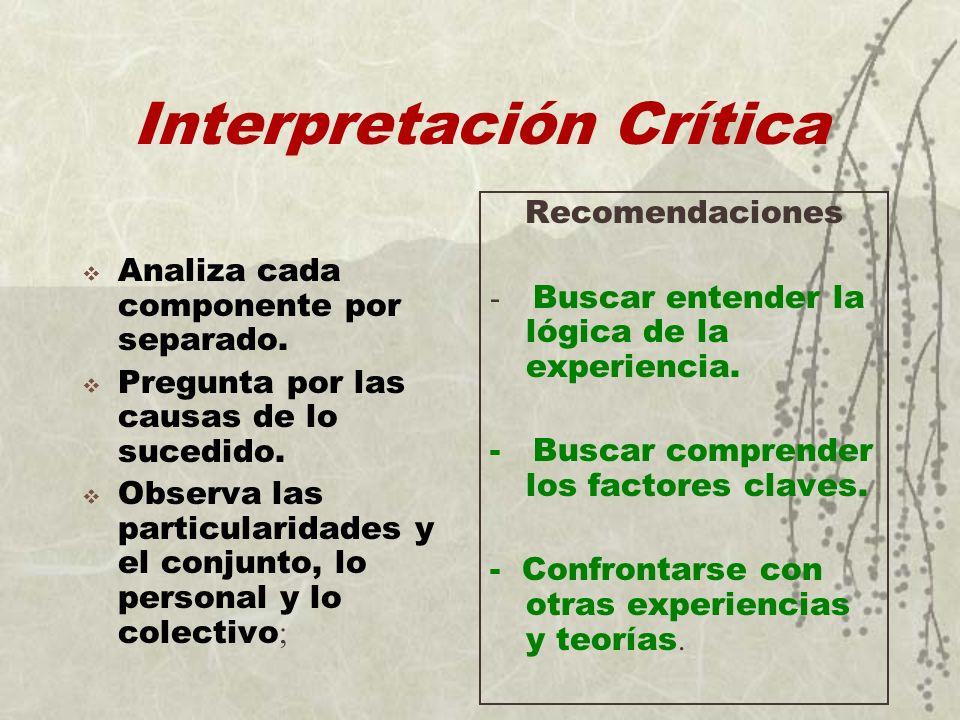 Interpretación Crítica Analiza cada componente por separado. Pregunta por las causas de lo sucedido. Observa las particularidades y el conjunto, lo pe