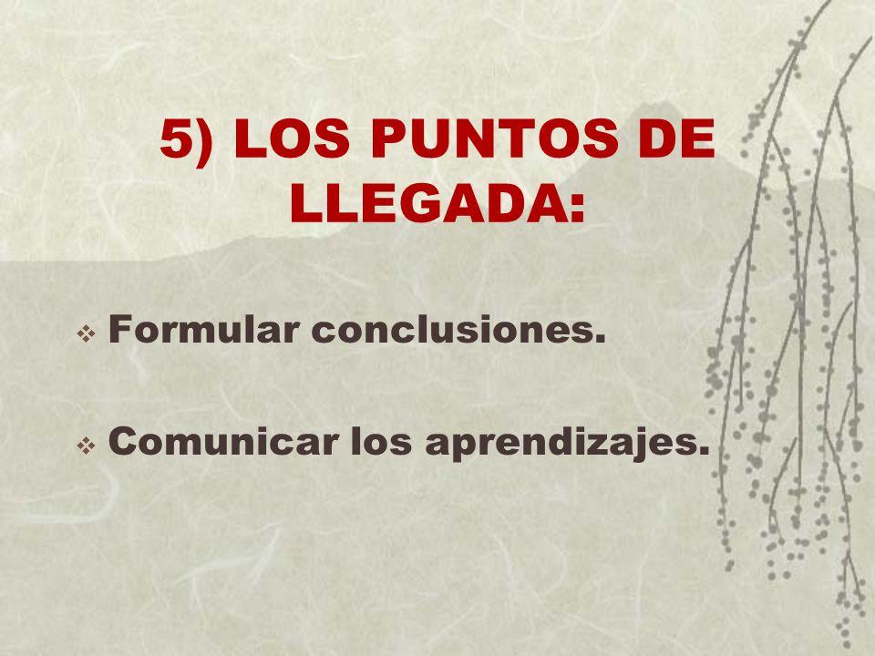 5) LOS PUNTOS DE LLEGADA: Formular conclusiones. Comunicar los aprendizajes.