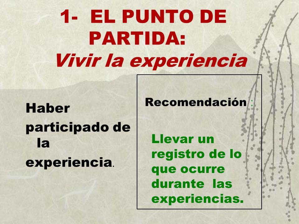 1- EL PUNTO DE PARTIDA: Vivir la experiencia Haber participado de la experiencia. Recomendación : Llevar un registro de lo que ocurre durante las expe