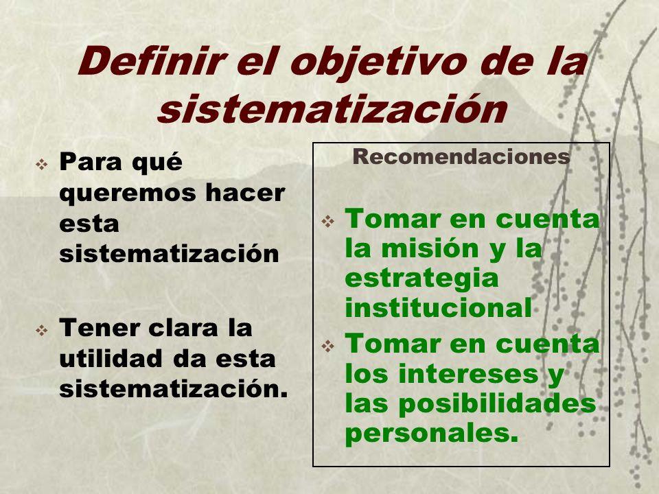 Definir el objetivo de la sistematización Para qué queremos hacer esta sistematización Tener clara la utilidad da esta sistematización. Recomendacione